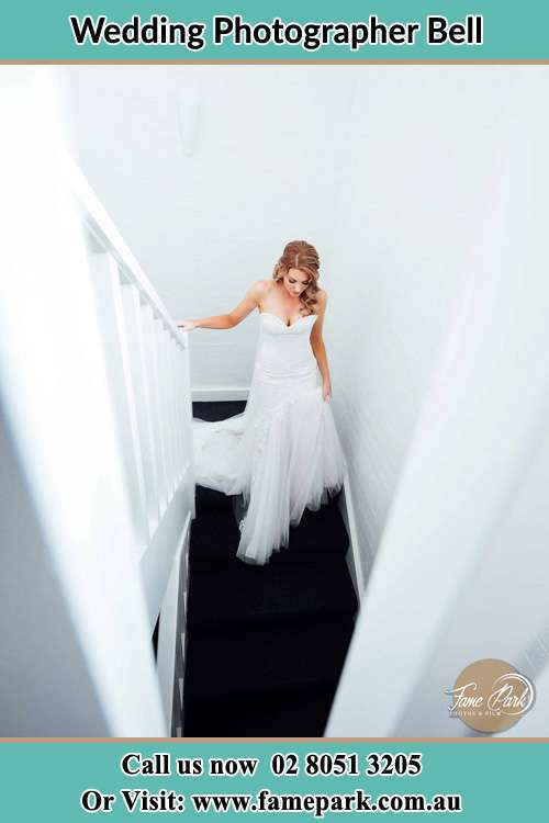 Photo of the Bride walking down the stairs Bell NSW 2786