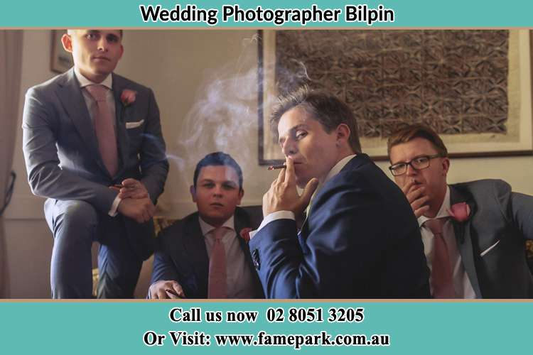 Photo of the Groom relaxing with the boys Bilpin NSW 2758