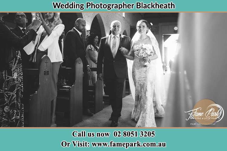 Photo of the Bride with her father walking down the aisle Blackheath NSW 2785