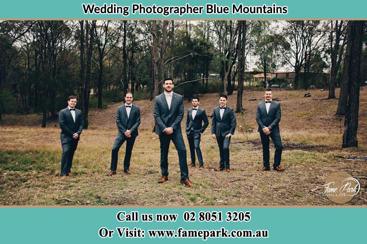 Wedding Photo of Groom and Groomsmen Blue Mountains