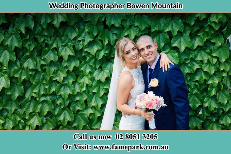 The Bride and the Groom happily pose for the camera Bowen Mountain NSW 2753