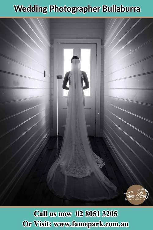 Photo of the Bride waiting for her wedding behind a closed door Bullaburra NSW 2784