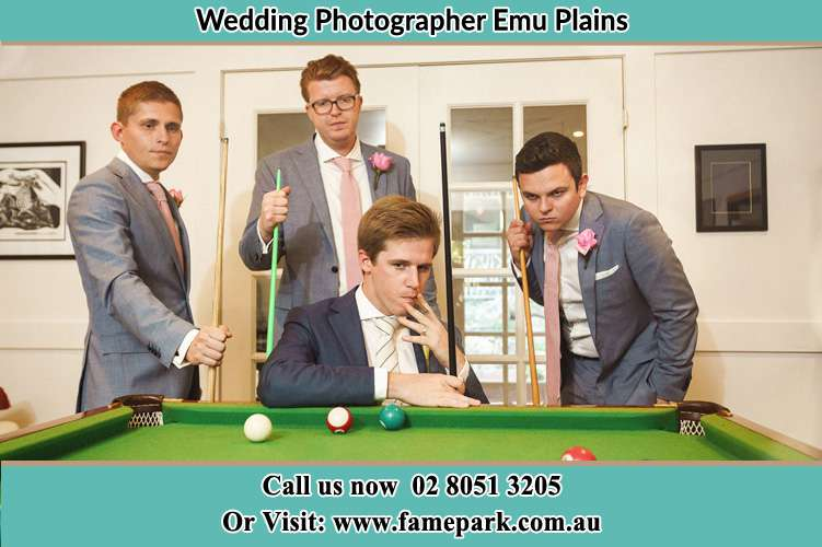 The Groom and his groomsmen playing billiards Emu Plains NSW 2750