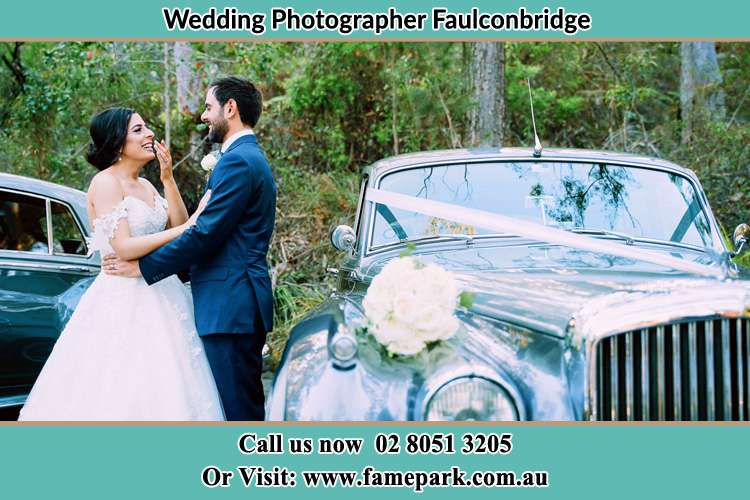 Bride and Groom beside the bridal car Faulconbridge NSW 2776