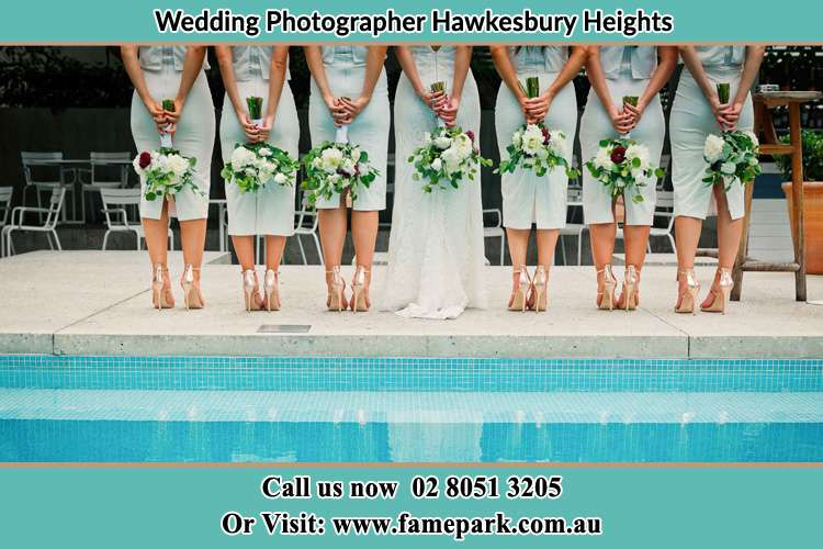 Bride and her Bride's maids at the poolside Hawkesbury Heights NSW 2777
