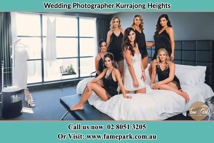 Bride with her bride's maids on the bed Kurrajong Heights NSW 2758