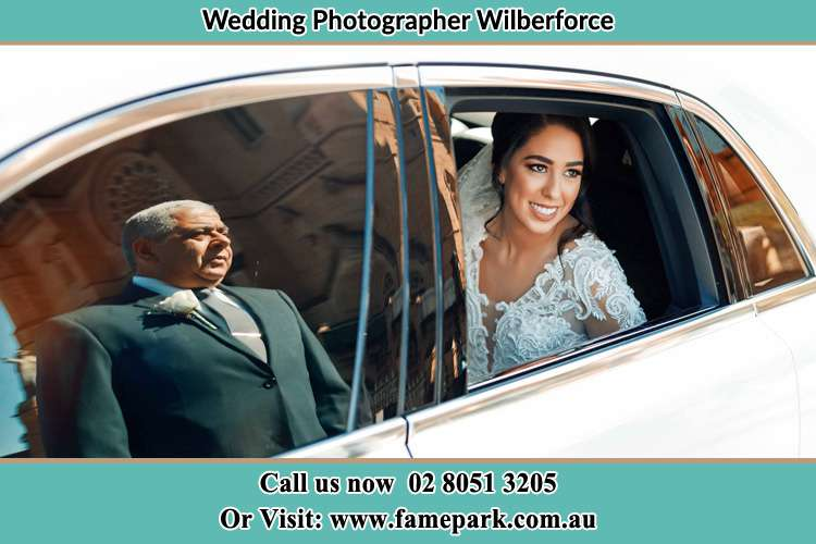 Photo of bride in her bridal car Wilberforce